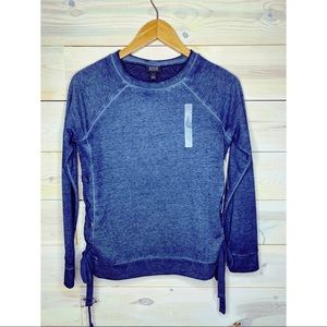 A.N.A Navy Blue Acid Washed Crew Neck w Lace Up